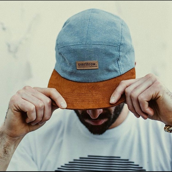 overthrow Other - Oswego camp hat 5-panel hat chambray/suede NEW